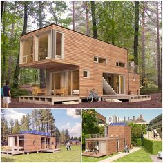 Houses made of upcycled containers Container Home Designs, Cargo Container Homes, Container Buildings, Container Architecture, Modern Architecture House, Architecture Design, House Outside Design, Tiny House Design, Modern House Plans