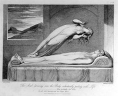 AYER William Blake (English, 1757-1827), The Soul Hovering Over the Body Reluctantly Parting with Life, 1813, engraving,