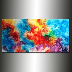 Large Colorful Original Abstract painting Contemporary Modern Art by Henry Parsinia 48x24