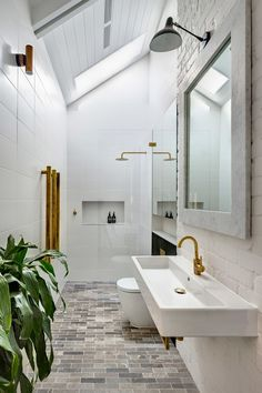Modern Farmhouse, Rustic Modern, Classic, light and airy master bathroom design tips. Bathroom makeover some ideas and master bathroom renovation a few ideas. Bathroom Renos, Bathroom Layout, Bathroom Interior, Small Bathroom, Skylight Bathroom, White Bathroom, Long Narrow Bathroom, Bathroom Mirrors, Remodel Bathroom