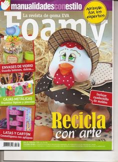 Como hacer una gallina fofucha Inspirations Magazine, Foam Crafts, Projects To Try, Dolls, Christmas Ornaments, Holiday Decor, Diy, Download, Magazines
