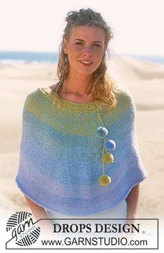 Poncho Drops en Safran, Alpaca et Coton Viscose Modèle gratuit de DROPS Design. Poncho Knitting Patterns, Crochet Poncho, Knit Patterns, Free Knitting, Drops Design, Magazine Drops, Creative Knitting, Poncho Shawl, Wrap Pattern