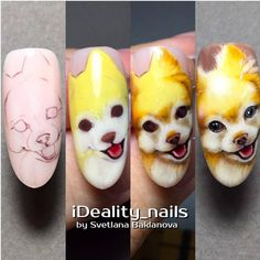 Easy Gel Polish Nail Art Ideas for Spring 2019 Dog Nail Art, Nail Art For Kids, Animal Nail Art, Cute Nails, Pretty Nails, Cute Nail Art, Beautiful Nail Designs, Cute Nail Designs, Fox Nails