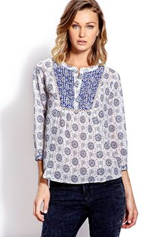 Groovy Floral Peasant Top | FOREVER 21 - 2000064211