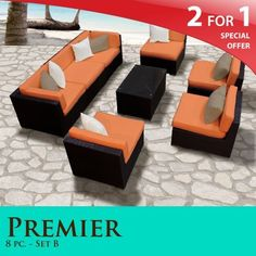 """Premier Outdoor Wicker 8 Piece Patio Set Tangerine Covers -08B by TK Classics. $1763.00. Versatile design for ANY patio size. """"No Sag"""" solid wicker bottoms with extra flexible strapping providing long-lasting suspension. 4"""" Welted cushions for a luxurious look and feel. Fully Assembled - ready to relax and enjoy. Affordable and comfortable Modular Furniture allows for endless arrangement possibilities. 2 for 1 Special: Purchase 1 of our Classic Patio Sets and receive a 2nd s..."""