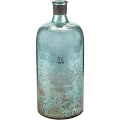 ELK LIGHTING Sterling 13-inch Aqua Antique Mercury Glass Bottle ($58) ❤ liked on Polyvore featuring blue