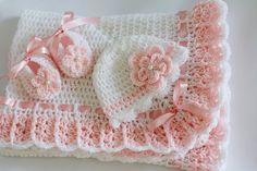 Manta del bebé botines del sombrero de por HandmadeByHallien