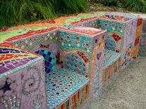 Laurel True. True Mosaics. Twin Thrones, Bench, San Francisco, 2004