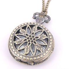1pcs Bronze Tone Openwork Pendant Round Quartz Pocket Watch Necklace Chain   eBay