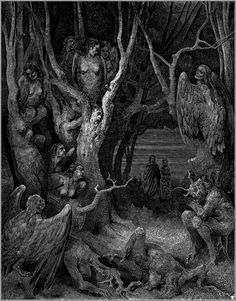 Gustave Doré. The Forest of Suicide from The Divine Comedy.
