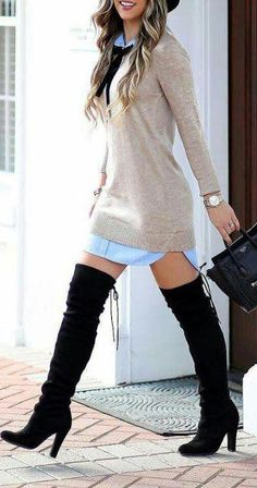 Ideas for fashion winter chic high boots Casual Fall Outfits, Winter Fashion Outfits, Fall Winter Outfits, Classy Outfits, Look Fashion, Stylish Outfits, Autumn Fashion, Fashion Boots, Fashion Dresses
