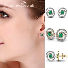 Certified Diamond Fine Stud Earrings Solid Yellow Gold Designer Emerald Gemstone Jewelry