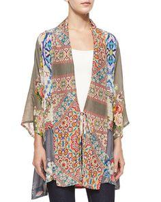 Johnny Was Collection Half-Sleeve Mixed-Print Kimono Jacket