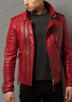 Details about Men's Leather Jacket RED Slim fit Motorcycle Biker Fall Real lambskin jacket Red Leather Jacket Men, Leather Men, Leather Jackets, Lambskin Leather, Black Leather, Stylish Jackets, Stylish Men, Smart Jackets, Casual Jackets