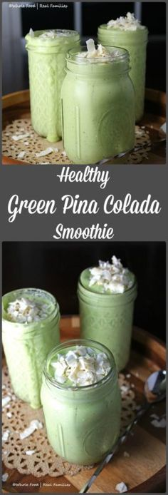 Healthy Green Pina Colada Smoothie  1 frozen banana ½ cup frozen pineapple ½ cup frozen mango 1 cup coconut milk (or milk of your choice) 1 cup baby spinach juice from ½ a lime 2 tbsp toasted coconut for garnish Instructions Combine all ingredients in the blender and blend until completely smooth. Top with toasted coconut if desired!