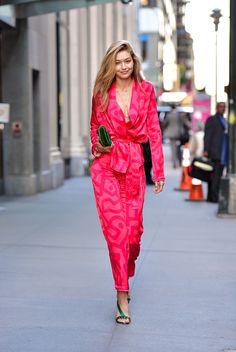 Gigi Hadid à la Fashion Week printemps-été 2018 à New York