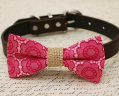 Hot pink Dog Bow Tie attached to brown dog collar, Burlap, wedding accessory