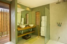 Architecture:A Modern White Washbowl Complete A Large Miroor On The Green Wall Also Some White Towels Hang On A Bamboo Casa Floanta: Great H...