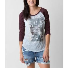 Hurley Mirror T-Shirt (110 BRL) ❤ liked on Polyvore featuring tops, t-shirts, burnout t shirt, graphic tees, raglan sleeve t shirt, hurley tops and graphic t shirts