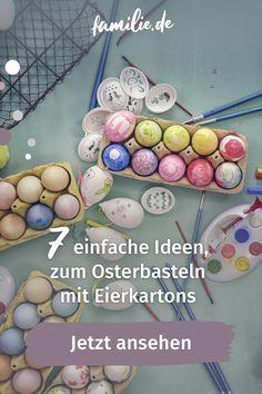 Ostern kommt mit riesen Schritten näher. Jetzt muss schnell noch ein bisschen Deko her. Wir haben alle gerade wenig Zeit und kaum die Möglichkeit, Bastelmaterialien zu kaufen. Trotzdem soll es zu Ostern doch schön bunt sein und die Kinder freuen sich über eine kleine kreative Beschäftigungsrunde. Für etwas Inspiration haben wir die schönsten und vor allem einfachsten Ideen für das Osterbasteln mit Eierkartons von Pinterest zusammengesucht. Bunt, Easter Eggs, Inspiration, Kids Discipline, Family Life, Interesting Facts, Biblical Inspiration, Inspirational, Inhalation