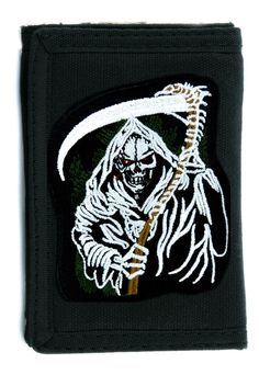 Grim Reaper Death Tri-fold Wallet w/ Chain Heavy Metal Clothing