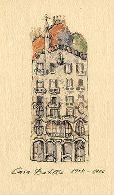 Barcelona on Illustration Served, Casa Batlló, by Katia Sergeeva