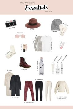 New Travel Outfit Mountain Packing Lists 21 Ideas Weekend Trip Packing, Weekend Packing List, Packing Lists, Travel Packing, Travel Tips, Vacation Wardrobe, Vacation Outfits, Capsule Wardrobe, Ski Weekends