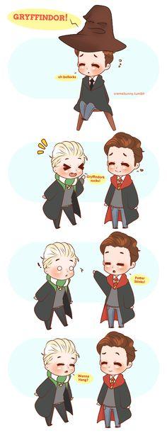 Chibi Gryffindor!Felton by Cremebunny (Aw they are so cute!!! Draco Malfoy and Tom Felton!)