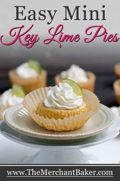 Easy Mini Key Lime Pies come together quickly with just five ingredients and one bowl. Creamy and full of fresh lime flavor, a perfect dessert for summer! Pie Recipes, Sweet Recipes, Cookie Recipes, Dessert Recipes, Mini Key Lime Pies, Mini Pies, Party Desserts, Summer Desserts, Key Lime Cookies