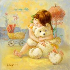 Beautiful paintings by Kate Dudnik |	 A girl and a teddy-bear