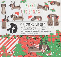 Christmas Clipart Dachshund Sausage Dog Cute by FRANCEillustration, $6.00