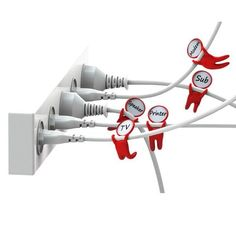 Mark Brothers - Cable Labels Got your cables in a tangle‭?‬ The Mark brothers are a set of cable labels. These five little acrobatic figures will swing from your wires, helping you to identify to which device each cable belongs.