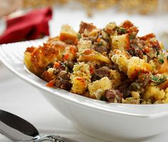 Cornbread and Dried Fruit Dressing. Healthier version of stuffing for a diabetic friendly Thanksgiving -- or anytime. DiabeticGourmet.com