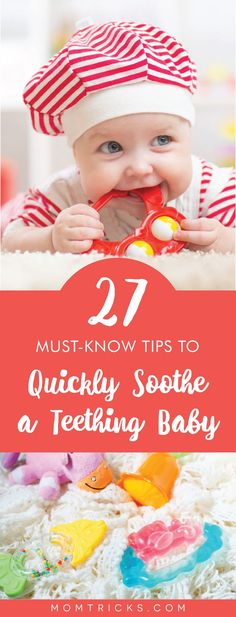 27 Must-Know Tips To Quickly Soothe a Teething Baby - Looking for quick ways to help relieve your teething little one? Here are 27 tried-and-tested metho - Parenting Humor, Parenting Tips, Baby Teething Symptoms, Teething Babies, Funny Babies, Cute Babies, Wanting A Baby, Crawling Baby, Baby Humor