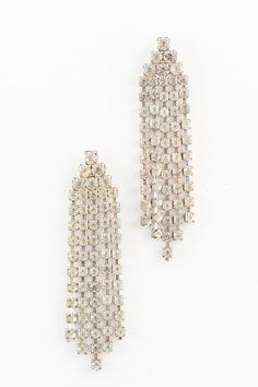 60's__Vintage__Rhinestone Fringe Earrings
