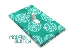 Teal Mums Light Switch Cover Chrysanthemum Flowers by ModernSwitch