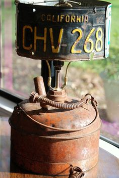 Upcycled Lamp Rat Rod Gas Can by CatkinsCreations on Etsy