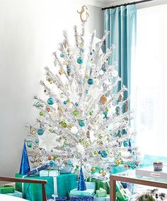 tinsel tree, blue ornaments & gift wrap
