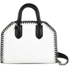 Stella Mccartney White Falabella Box Alter Croc Mini Bag ($1,030) ❤ liked on Polyvore featuring bags, handbags, shoulder bags, purses, ivory, purse shoulder bag, white leather handbags, white leather purse, handbags shoulder bags and leather purses