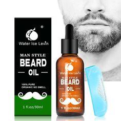 Water Ice Levin Barba de esencia orgánica Oil Cuidado de cuidado de hombres Cosecha de bigote azul Nourish 30ml