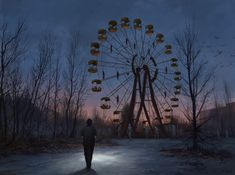 """st-just: """"A Chernobyl Horror Story by Stefan Koidl """" Chernobyl, Arte Horror, Horror Art, Dark Fantasy Art, Cry Wolf, Nocturne, St Just, Arte Obscura, Fun Fair"""