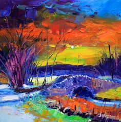 Winter Sunset, the Bridge at Stochavullin by Jolomo - John Lowrie Morrison