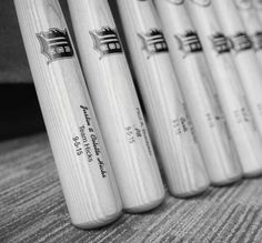 Genuine Louisville Slugger Bats for the Bridal Party personalized with up to 4 lines of text and available in a number of different finishes.  Outfit your groomsmen in style and get a quote today!  #baseballwedding  #stwdotcom
