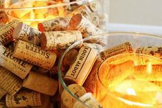 Wine Cork Candle Holder - you can easily make that, especially after you have hosted a wine tasting party. Wine Cork Candle, Candle Jars, Candle Holders, Candles, Wine Corks, Candle Centerpieces, Glass Votive, Centerpiece Ideas, Wine Bottles