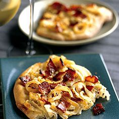 Onion and Bacon Tart Recipe Appetizers with bacon slices, onion, large eggs, sour cream, salt, ground black pepper, ground nutmeg, crust pizza refriger, caraway seeds