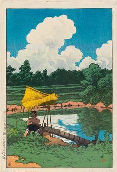 水揚げ樋(佐渡所見) みずあげとい(さどしょけん) Irrigation, As Seen in Sado. 川瀬巴水 かわせはすい Kawase Hasui. 旅みやげ第二集  From series Souvenirs of Travel II.
