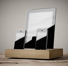 An elegant charging station for your iPhones and iPad. Cord passes through base, out of view to keep things uncluttered