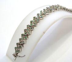 925 Solid Sterling Silver Bracelet 120 CTS Gorgeous Natural Faceted Emerald Bracelet Fine Quality Gemstones