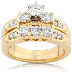 Diamond Wedding Set 1 carat (ctw) in 14K Yellow Gold ($1,650) ❤ liked on Polyvore featuring jewelry, rings, accessories, anel, wedding, yellow gold rings, yellow gold wedding rings, 14k ring, gold jewelry and gold diamond jewelry