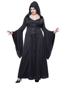 Black Hooded Robe Womens Plus Size Costume – Spirit Halloween